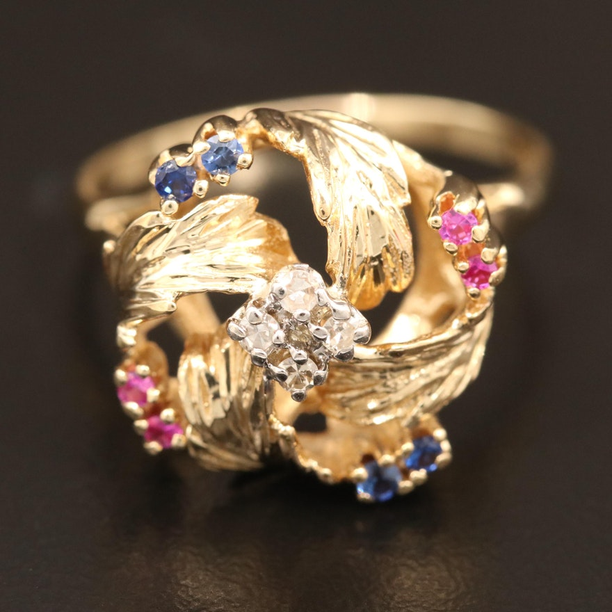 18K Diamond, Sapphire and Ruby Foliate Ring