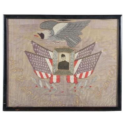 """World War One Embroidered Silk Panel """"Souvenir De France"""", c. 1918"""
