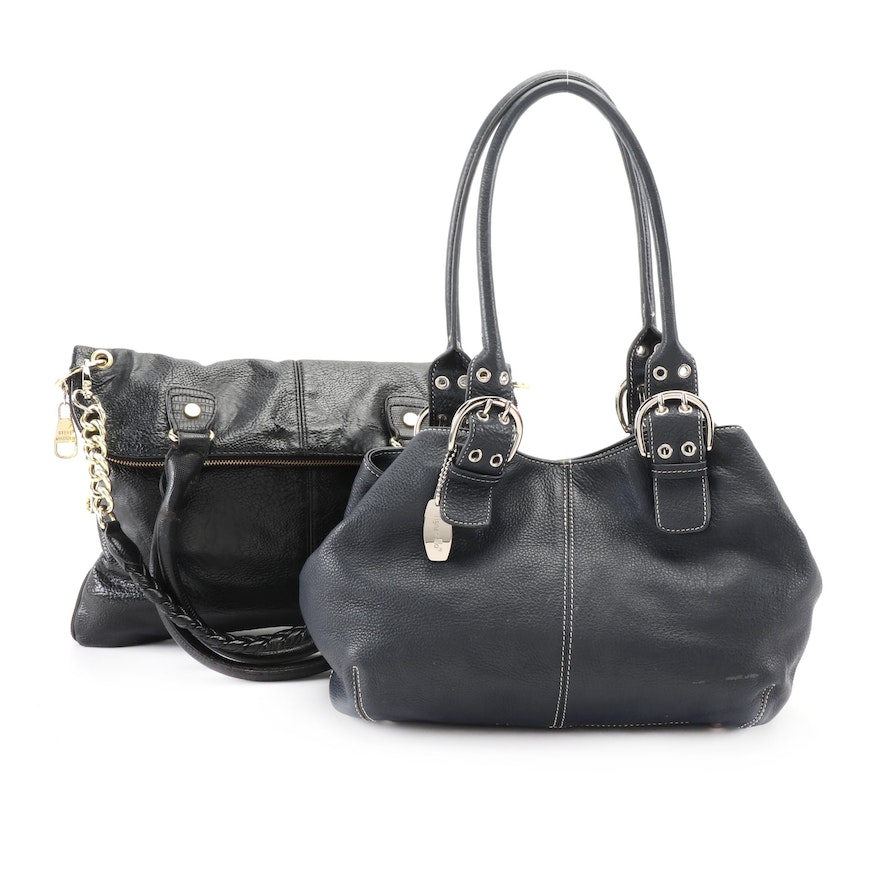 Tignanello Navy Blue Grained Leather and Steve Madden Black Faux Leather Bags