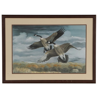 Ray Harm Offset Lithograph of Canadian Geese, circa 1980
