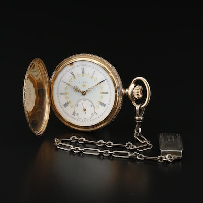14K Elgin Ornate Hunting Case Pocket Watch