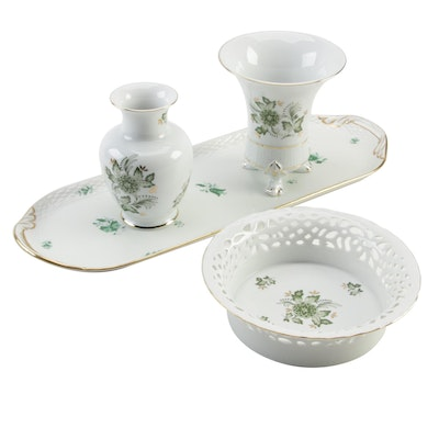 Herend Porcelain Oblong Tray and Hollóháza Green and Gold Leaf Bowl and Vases