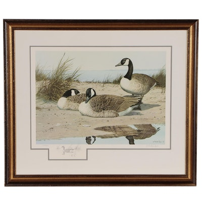 William Redd Taylor Offset Lithograph of Canadian Geese, 1975