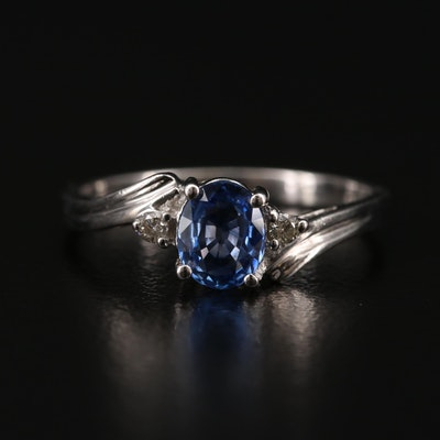Platinum Sapphire Ring with Diamond Accents