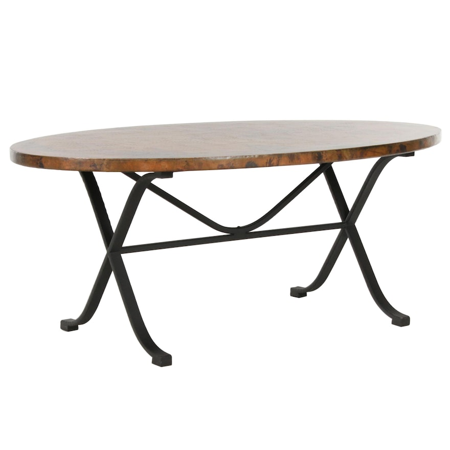 Arhaus Recycled Hammered Copper Top Dining Table With Arvada Forged Iron Base Ebth