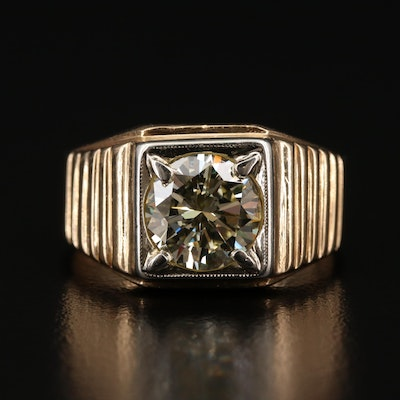14K 2.55 CT Diamond Ring with Fluted Shoulders