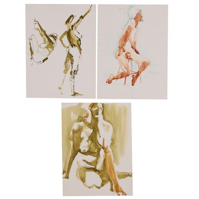 John Tuska Figural Ink Paintings, Late 20th Century