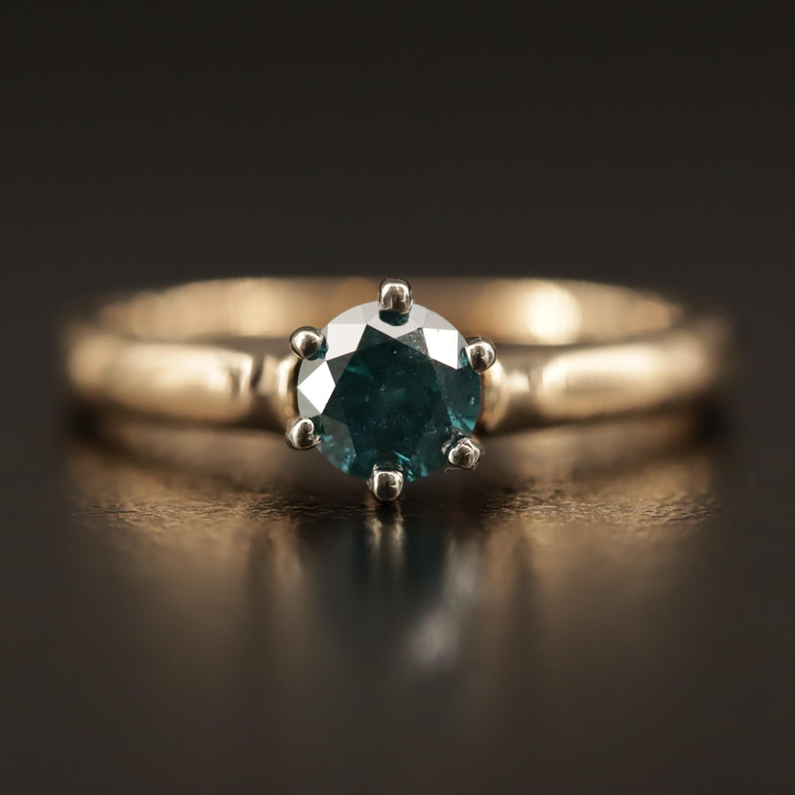 14K 0.52 CT Blue Diamond Solitaire Ring