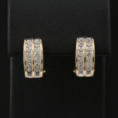 14K Gold Diamond J-Hoop Earrings
