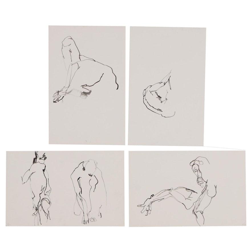 John Tuska Figural Ink Paintings