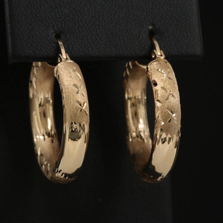 14K Etched Tube Hoop Earrings