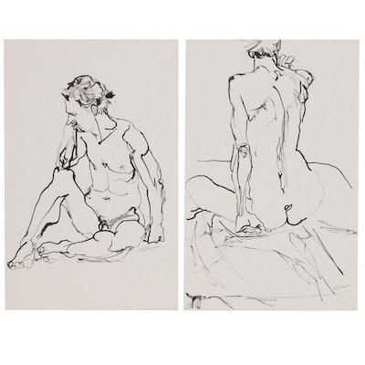 John Tuska Figural Ink Paintings, Late 20th Century