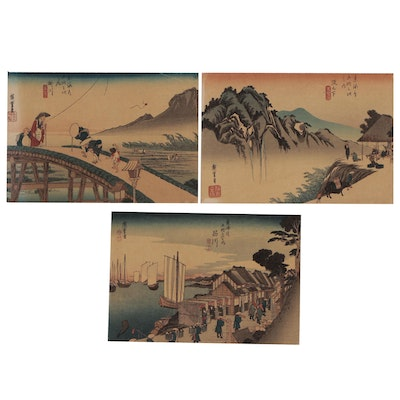"Ukiyo-e Woodblocks after Hiroshige from ""53 Stations of the Tokaido"""