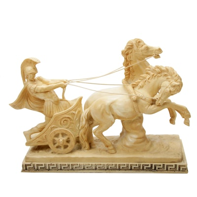 A. Santini Resin Sculpture of Roman Chariot