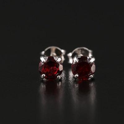 Sterling Garnet Stud Earrings