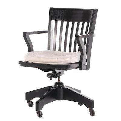 "Williams-Sonoma Ebonized Slat Back ""Americana"" Desk Armchair"