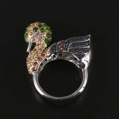 Sterling Silver Diopside and Sapphire Duck Ring