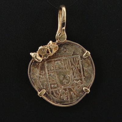 14K Pendant with Replica of Spanish Silver Cob Coin
