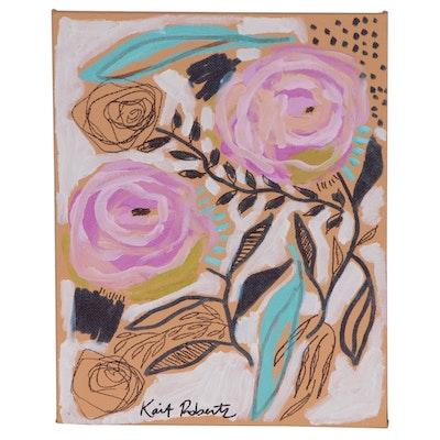 "Kait Roberts Embellished Acrylic Painting ""Bubblegum Blooms"", 2019"