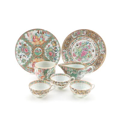 Chinese Rose Medallion Porcelain Tableware Pieces, Late 19th Century