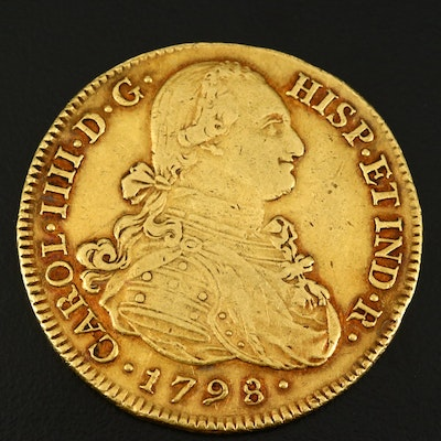 1798-P JF Colombia Eight Escudos Gold Coin