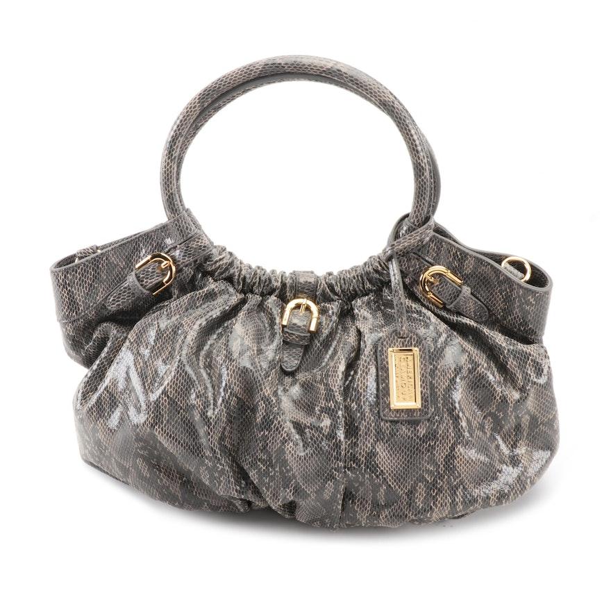 Badgley Mischka American Glamour Python Effect Embossed Leather Shoulder Bag
