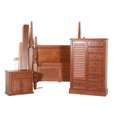 Bedroom Set with Four-Post Bed, Chest and Nightstand, Contemporary