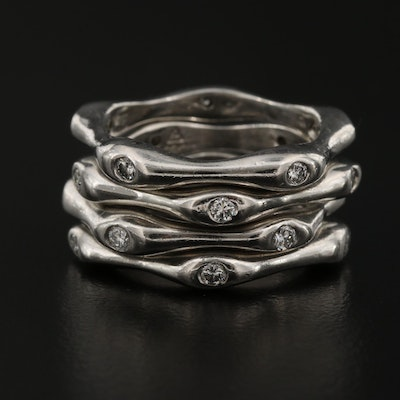 Platinum Diamond Bamboo Stacking Rings