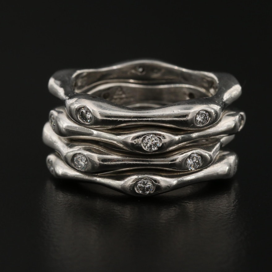 Platinum Diamond Bamboo Stacking Rings