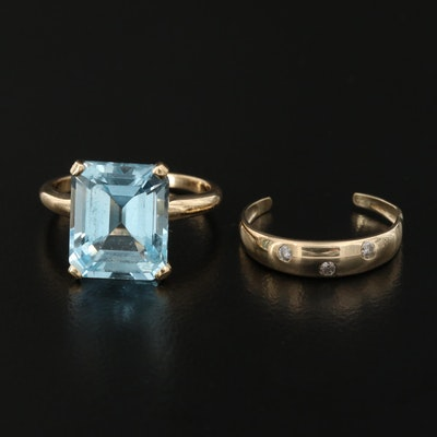 14K 8.00 CT Topaz and 10K Diamond Rings