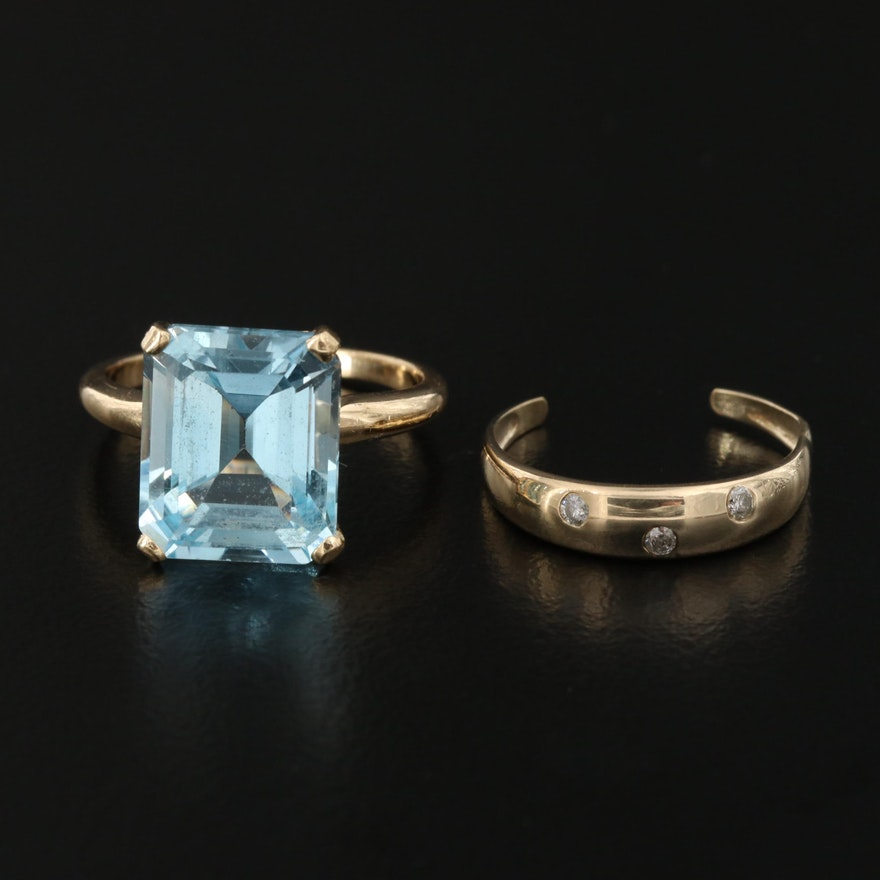 14K 8.00 CT Topaz and 10K Diamond Rings