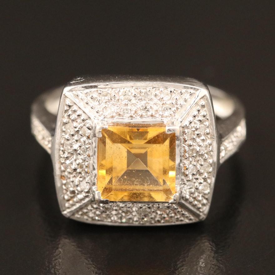18K Gold Citrine and Diamond Ring