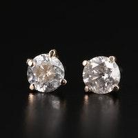 14K Gold 1.30 CTW Diamond Stud Earrings