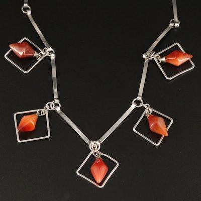 Modern 800 Silver Agate Fringe Necklace