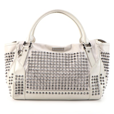 Burberry Edenham Studded Tote in Off-White Lambskin with Calf Leather Trim