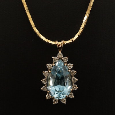 14K Blue Topaz and Diamond Pendant Necklace