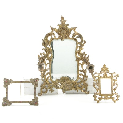 Brass and Beveled Glass Girandole Mirror with Brass Tabletop Frames