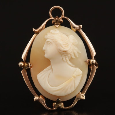 Early 1900s 10K Shell Cameo Converter Brooch