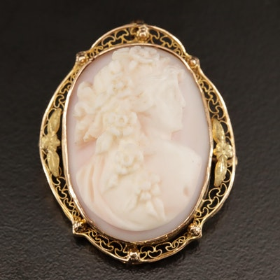 1930s 10K Conch Shell High Relief Cameo Converter Brooch