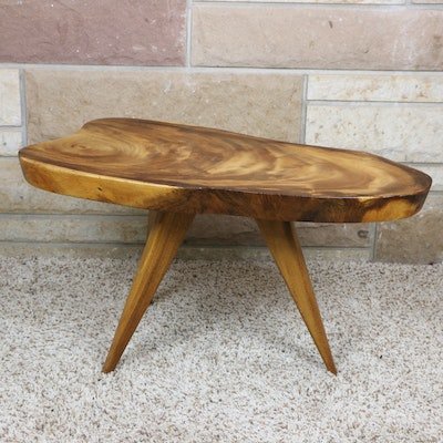 Handmade Modernist Tripod Slab Accent Table
