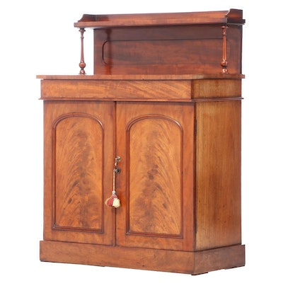 Early Victorian Flame Mahogany Chiffonier, Mid-19th Century