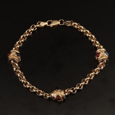 14K Onyx, Carnelian and Chalcedony Bracelet