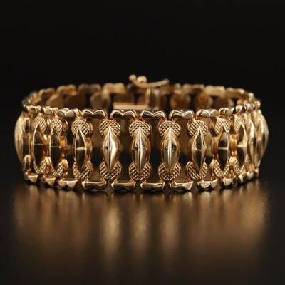 Aurafin 14K Fancy Link Bracelet