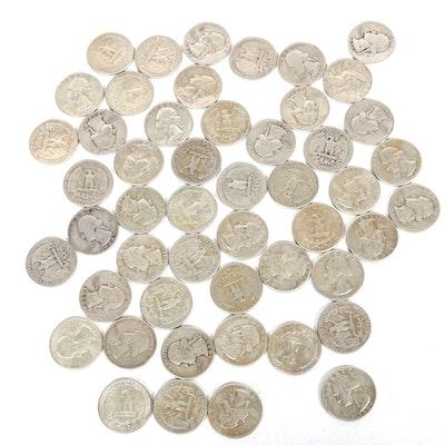 United States Silver Washington Quarters, Set of Fifty