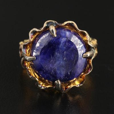 Sterling Silver Sillimanite Floral Motif Ring
