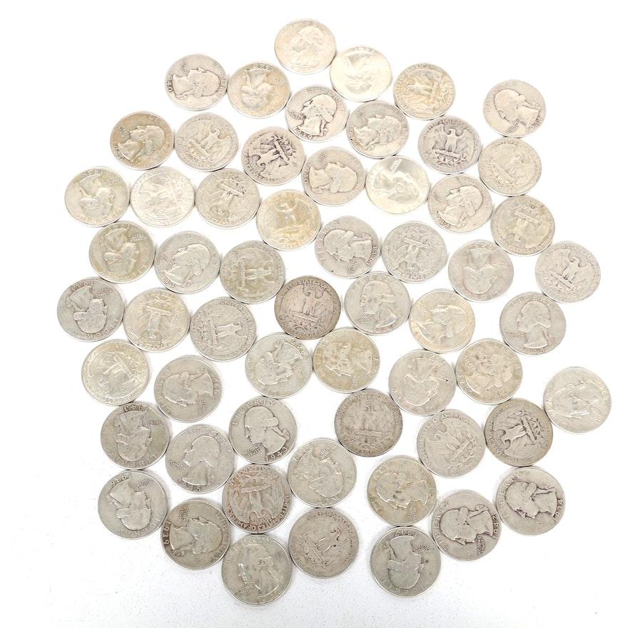 United States Silver Washington Quarters, Set of Fifty-Eight
