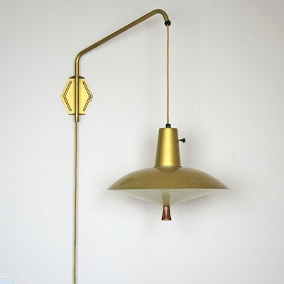 Mid Century Modern Berger Brass Adjustable Wall Lamp
