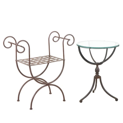 Wrought Iron Bench And Glass Top Side Table, Late 20th Century