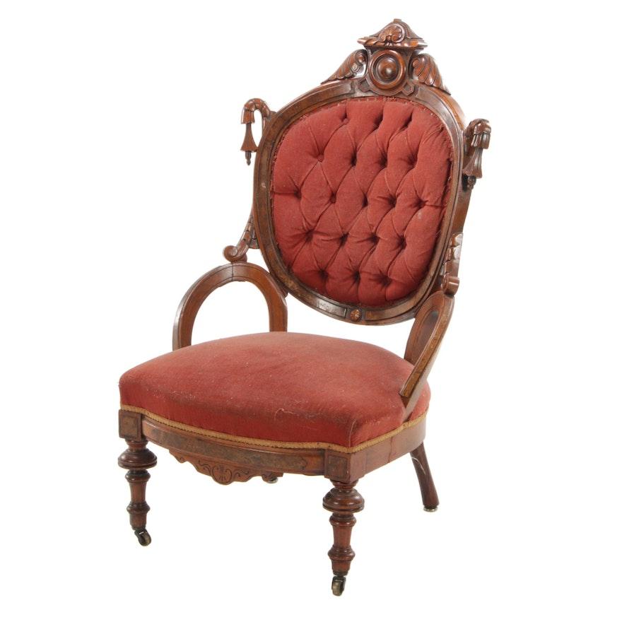 Victorian Renaissance Revival Walnut Parlor Chair, Late 19th Century