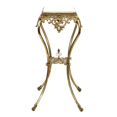 Rococo Style Brass and Stone Side Table, 20th Century